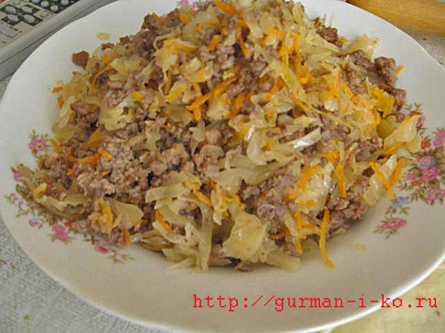 Рецепт тушеной капусты с фаршем и картошкой
