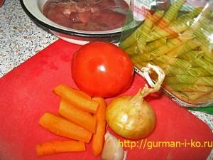 Печень с овощами