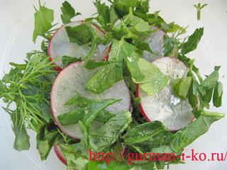 Весенние салаты с редиской